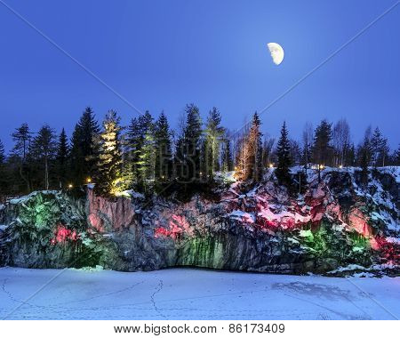 Evening Lights In The Marble Quarry Ruskeala In Karelia In The Winter