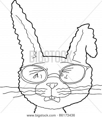 Outline Of Sobbing Rabbit With Glasses