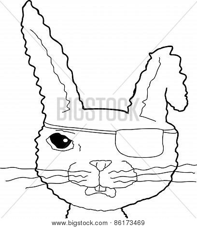 Outlined Cartoon Pirate Bunny