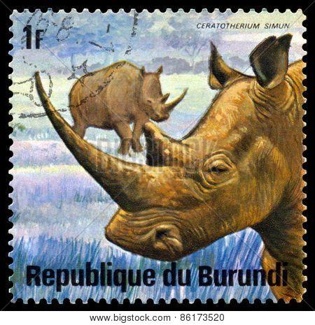 Vintage  Postage Stamp. Animals Burundi, White  Rhinoseros.