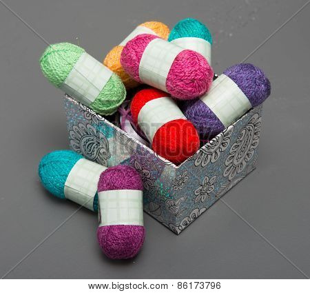 Small Multicolored Balls Of Wool