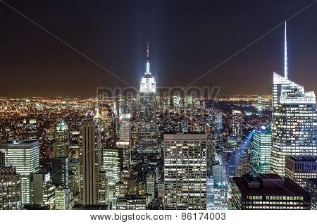 Manhattan Skyline At Night, New York City, Usa.