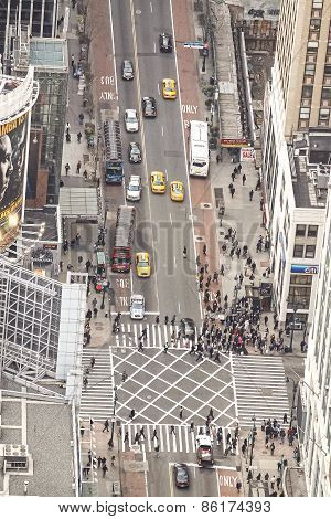 New York, Usa - March 02, 2011: Aerial View Of The City Center Filled With Pedestrians And Cars.