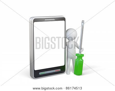 3d renderer image. White people with screwdriver next to the smartphone. Isolated white background.