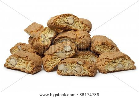 Heap of fresh baked cantuccini on white background