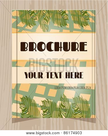 Beautiful, vintage brochure with pattern, green palm leaves, text, retro design