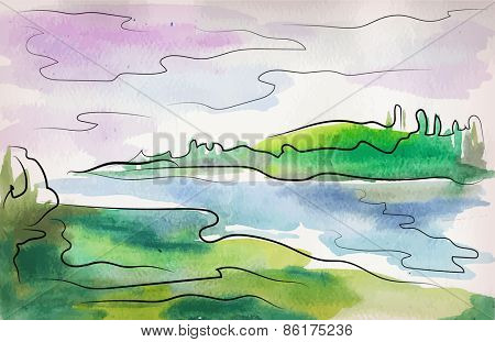 watercolor painted landscape with decorative lines  forest and river - mixed media