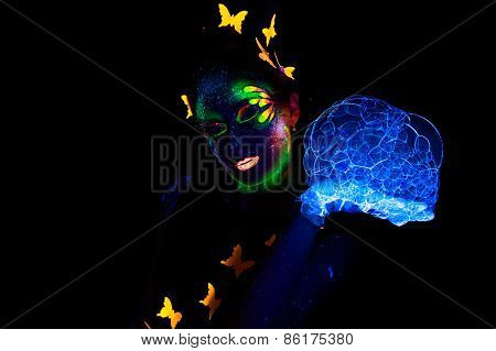 Photo of woman with luminous make up and lather