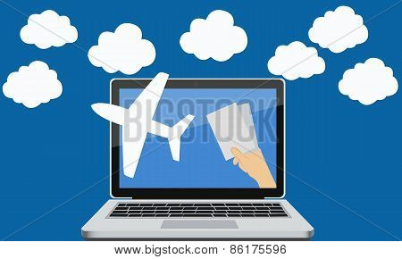 Online booking of air tickets through the Internet for travel