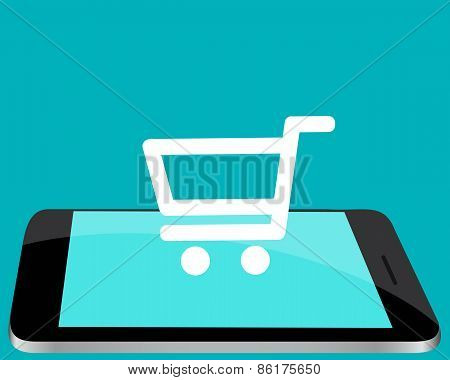 Shopping online through the mobile phone. Phone with shopping carts. Vector illustration