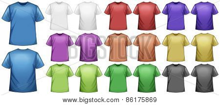 T-shirts in different colors with no screen on it