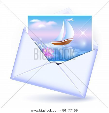 Envelope And Card With Image Sailboat