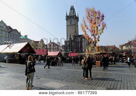 Easter Markets On Old Town Square In Prague