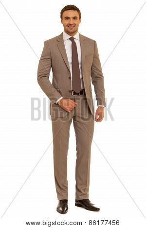 Confident, friendly businessman looking to the camera. Man in shirt with tie. Isolated on white back