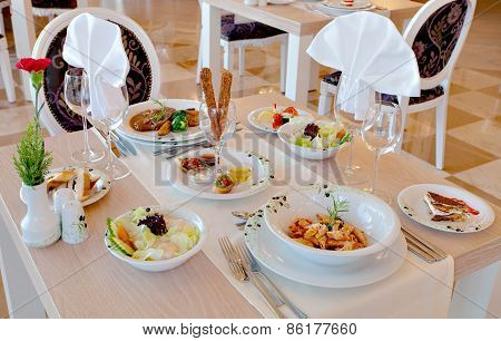 Detail of table set for dinner