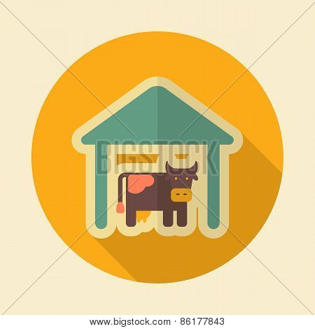 Cowshed Retro Flat Icon With Long Shadow