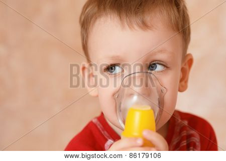 Sick Little Boy Makes Inhalation Mask For Breathing At Home