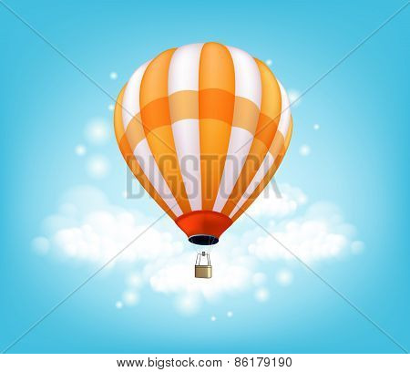 Realistic Colorful Hot Air Balloon Background Flying