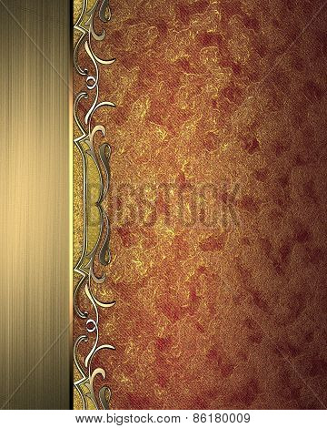 Red Beautiful Texture With Gold Ribbon With Patterns. Pattern For Decoration
