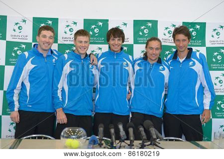 DNEPROPETROVSK, UKRAINE - APRIL 4, 2013: Ukrainian team on press conference before Davis Cup match Ukraine vs Sweden. Left to right: M. Filima, I. Marchenko, D. Molchanov, A. Dolgopolov, S. Stakhovsky