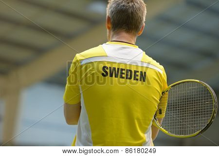 DNEPROPETROVSK, UKRAINE - APRIL 4, 2013: Markus Eriksson, Sweden on the training before Davis Cup match Ukraine vs Sweden. Ukraine won the match 3-2