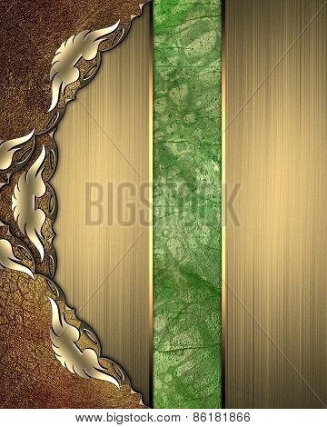 Abstract Pattern For Design. Pattern Background Of Green And Gold Pattern Insert