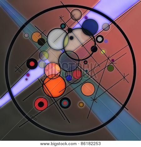 3D illustration of abstract with circles and lines