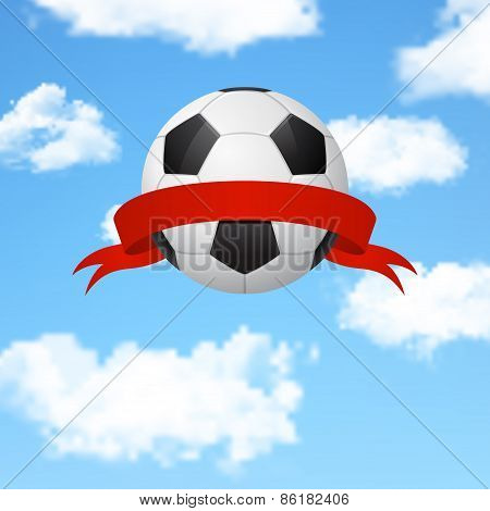 Soccer Ball With Ribbon Flying In The Sky