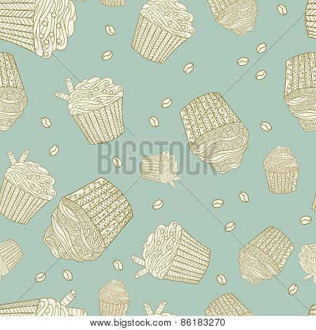 Seamless Pattern With Muffins And Coffee Beans