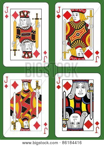 Four Jacks of Diamonds in four different styles on a green background