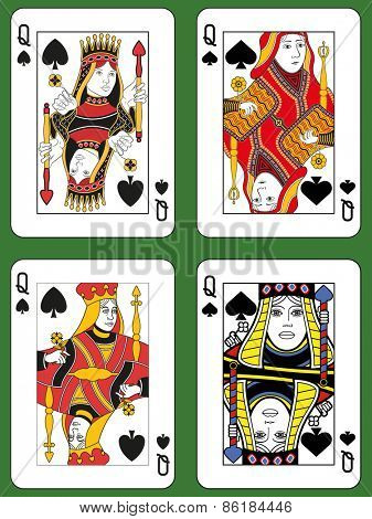 Four Queens of Spades in four different styles on a green background