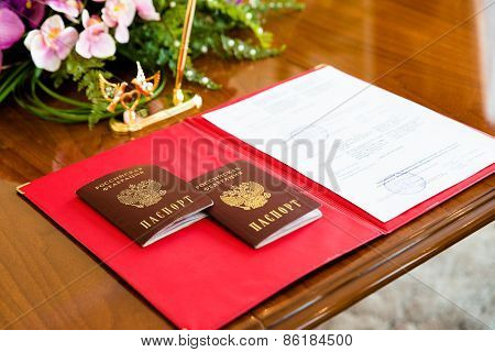 Russian Passports In The Registry Office.