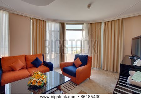 Cozy living room interior in residential complex