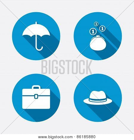 Umbrella, wallet and hat with case.