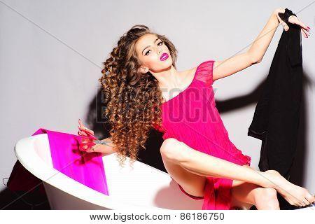 Fashionable Woman In Bathtub