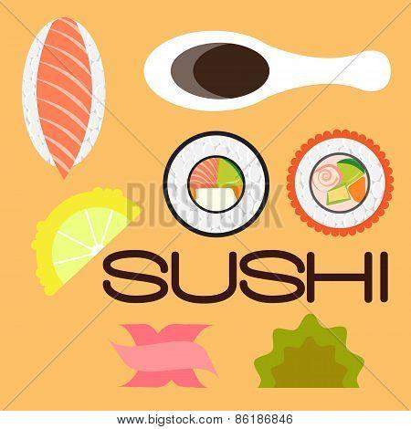 Sushi Set Flat Disign