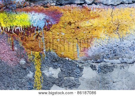 Abstract Background Concrete Painted Yellow And Purple Paint, Weathered With Cracks And Scratches. L