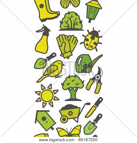 Seamless pattern of green garden tools