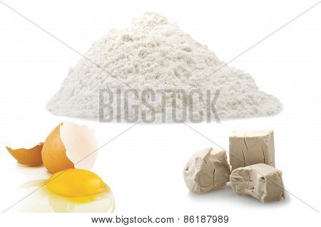 Flour egg and Yeast cubes