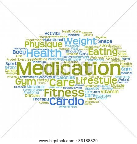 Concept or conceptual abstract health word cloud or wordcloud on white background