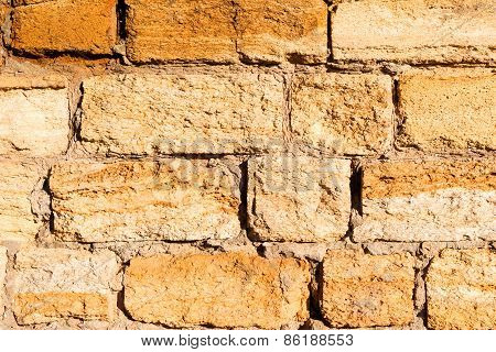 Wall Built Of Natural Stone. Can Be Used As Background. Landscape Style. Great Background Or Texture