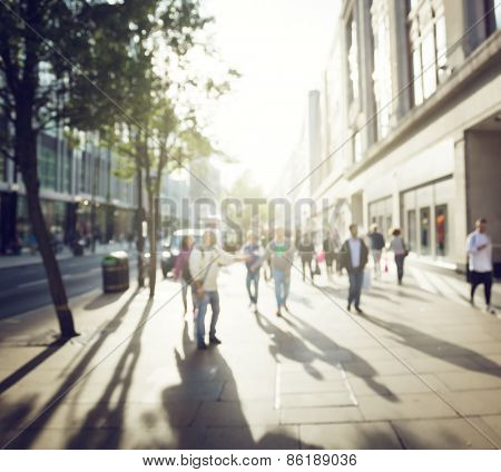people in bokeh, street of London
