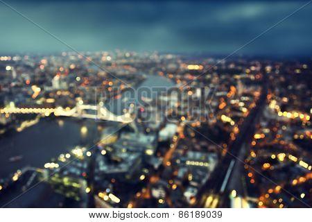 bokeh of London aerial view with Tower Bridge, UK