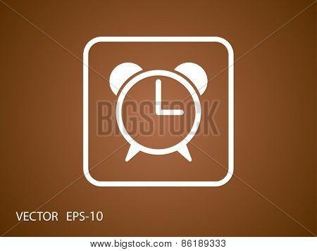 Flat icon of alarm clock