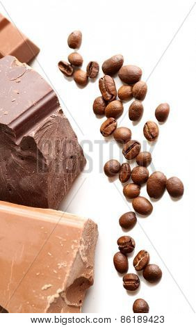 Chocolate bars with coffee beans isolated on white