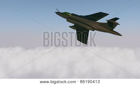 military aircraft above clouds