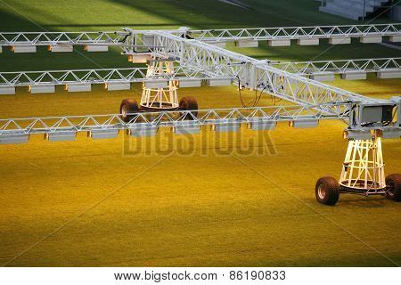 Lighting Rig System For Growing Grass And Lawn At Stadium
