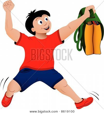 Back to school concept of jumping happy boy with bag