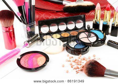 Different cosmetics close up