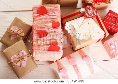 Beautiful gift boxes close-up. Valentine Day concept